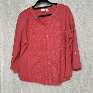 Chico's Coral Size 3 Embroidered Button Down 3/4 S